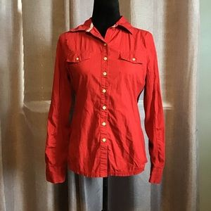 Converse red button down top